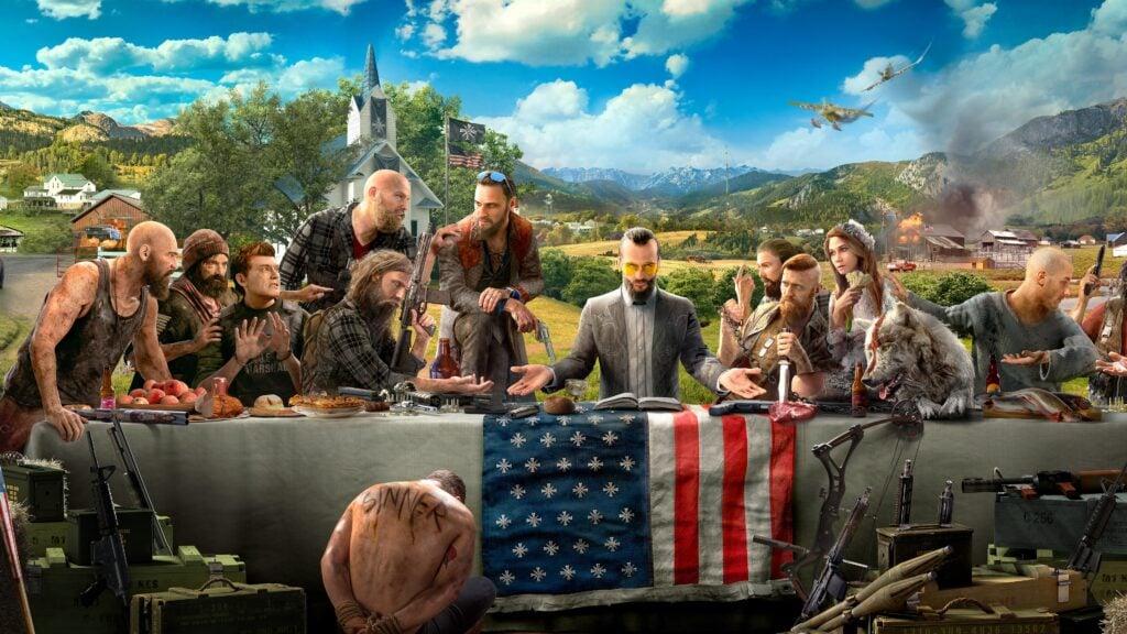 Personagens de far cry 5 sentados à mesa, em alusão à santa ceia.