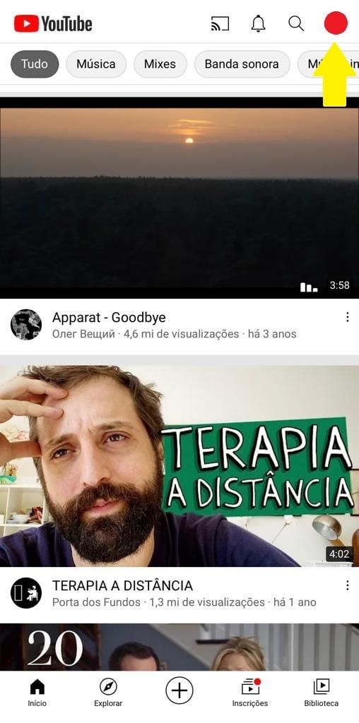 Abra seu perfil do youtube