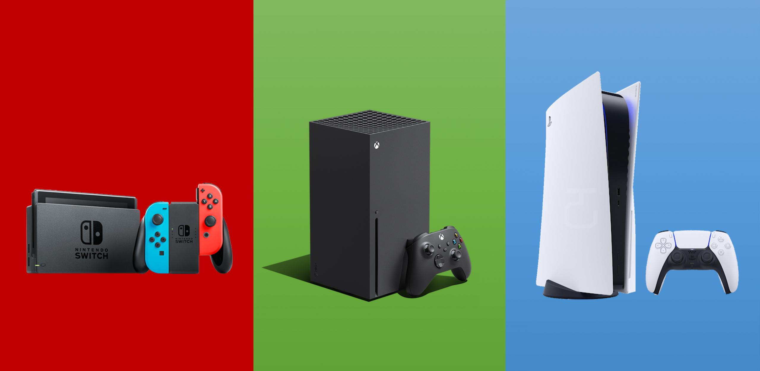 Nintendo switch em fundo vermelho; xbox series x em fundo verde; playstation 5 em fundo azul.