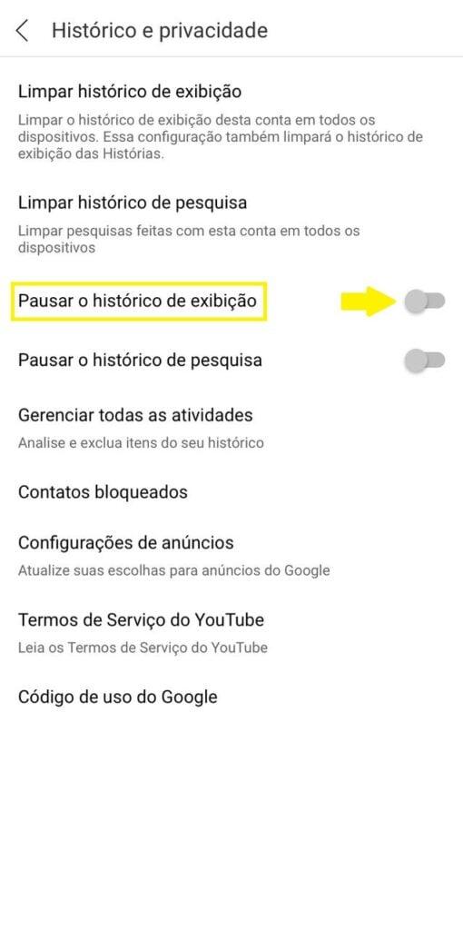 Limpar histórico youtube