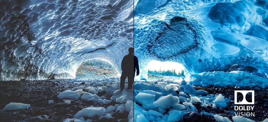 Imagem de divulgação da tecnologia dolby vision, mostrando a diferença nas cores.