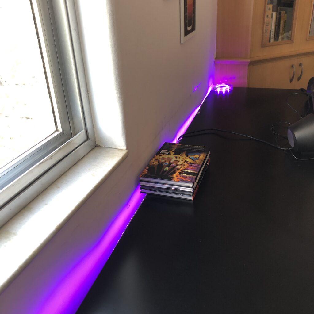 Fita de led inteligente wi-fi kit smart home geonav teste na parede