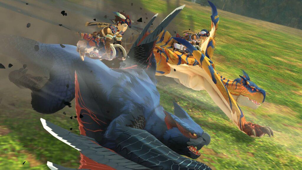 Cena de um ataque duplo em monster hunter stories 2