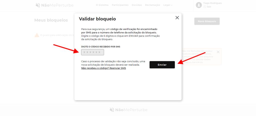 Validação de bloqueio no site não me perturbe