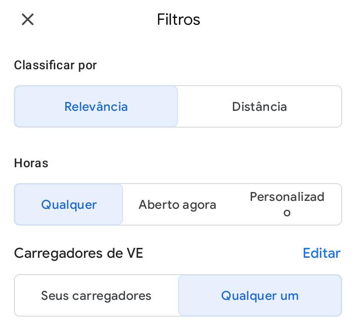 Busque postos elétricos - dicas e truques para o google maps