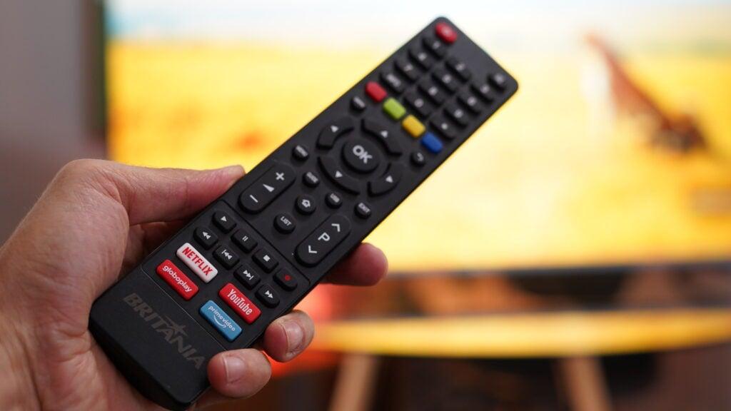 Controle remoto tv britânia 4k 55 polegadas
