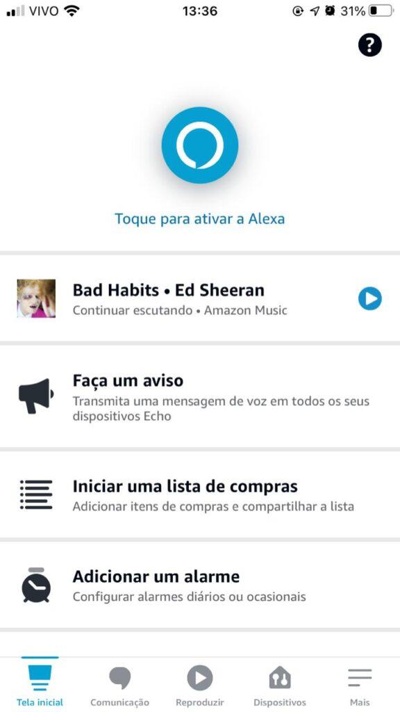Interface da tela de personalização no app amazon alexa