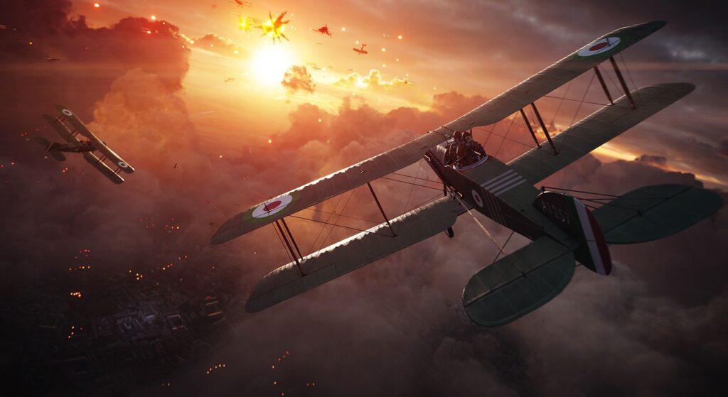 Aviões da primeira guerra mundial se enfrentam.