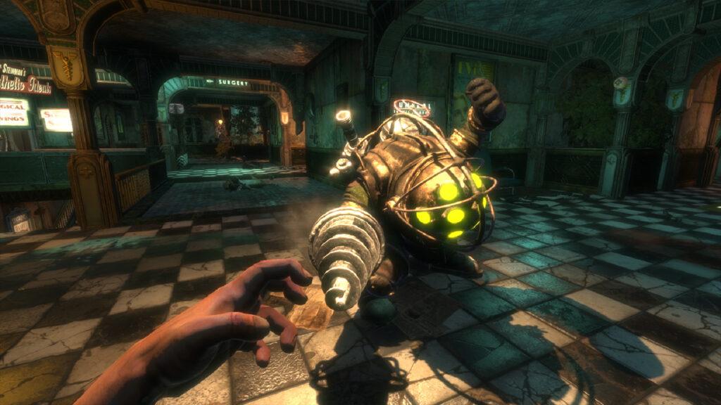 Protagonista de bioshock se depara com um big daddy.