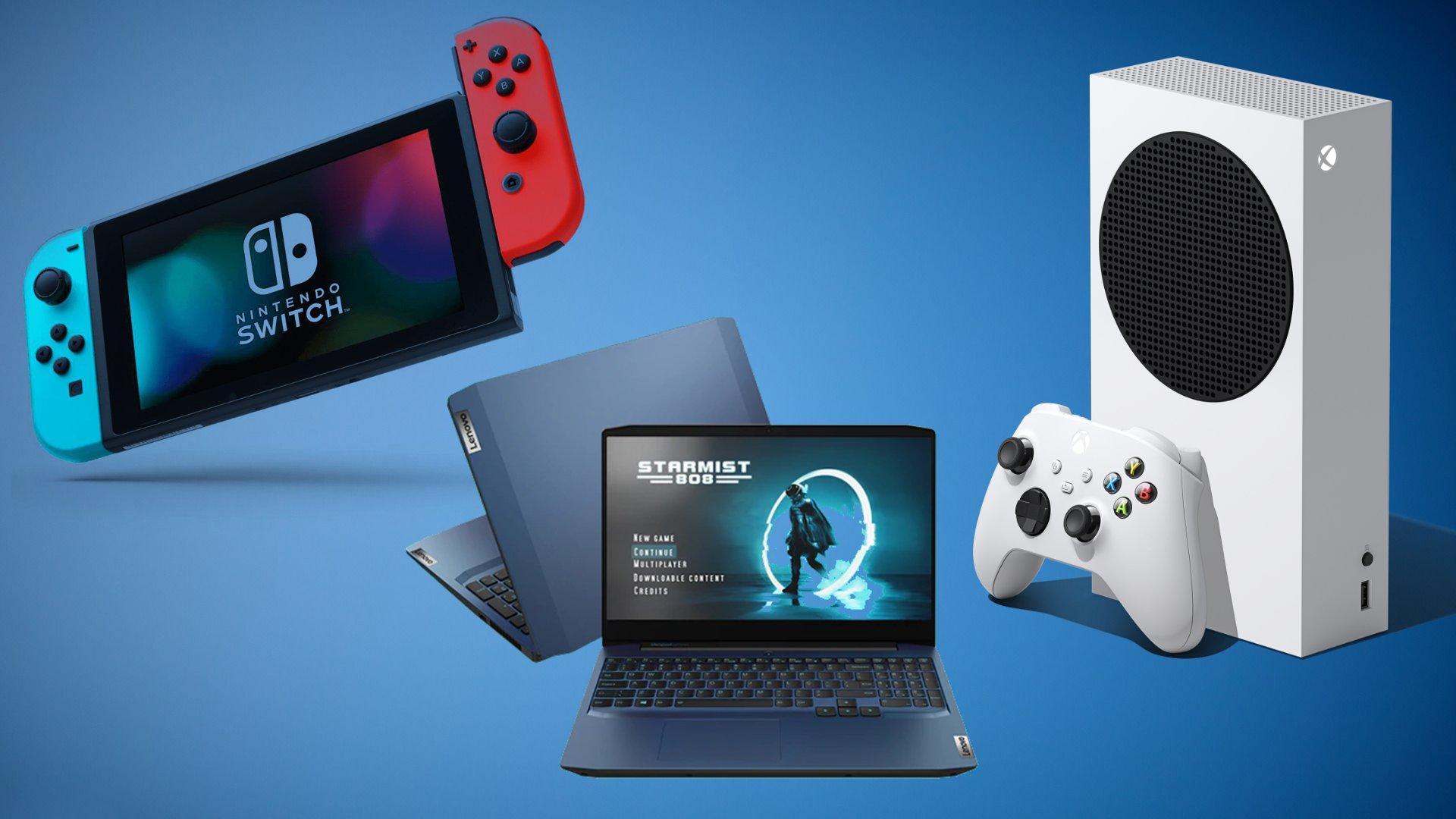 Fundo degradê azul; no primeiro plano, nintendo switch, notebook lenovo e xbox series s.
