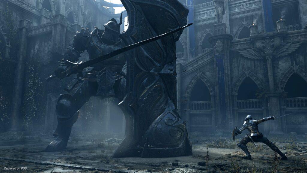 Cavaleiro gigante como um inimigo em demon's souls.