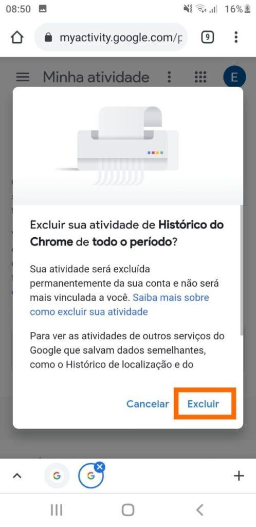 Excluir histórico do google no android