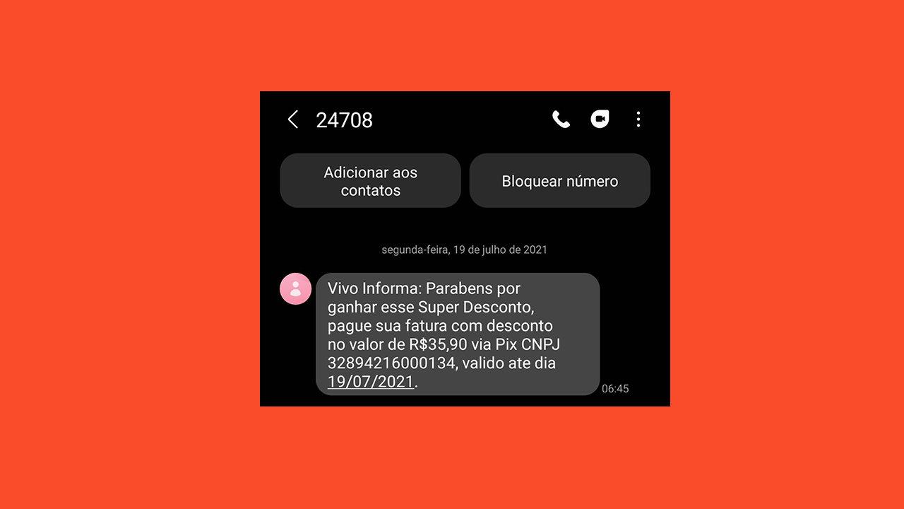 Golpe por sms pede pagamento de conta telefônica com pix