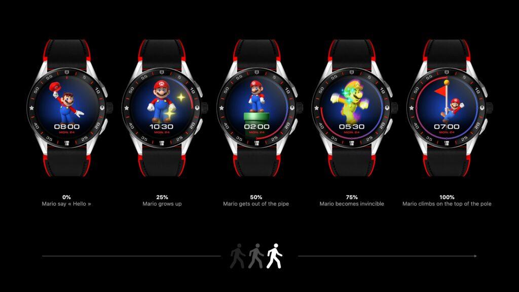 Estágios desbloqueáveis do relógio do mario mostram o personagem fazendo atividades oriundas de seus games