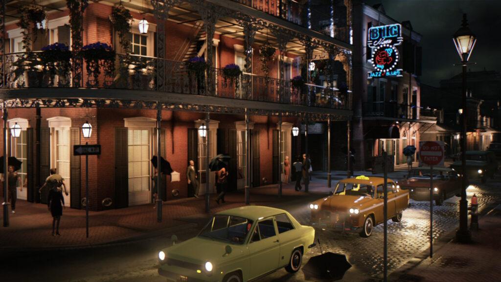 A vívida cidade de new bordeaux; prédio ao fundo, carros passando na rua em primeiro plano.