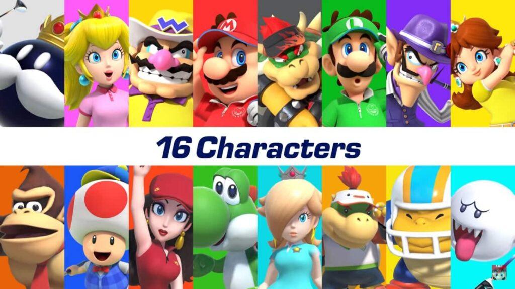 Imagem com os 16 personagens disponíveis no game.