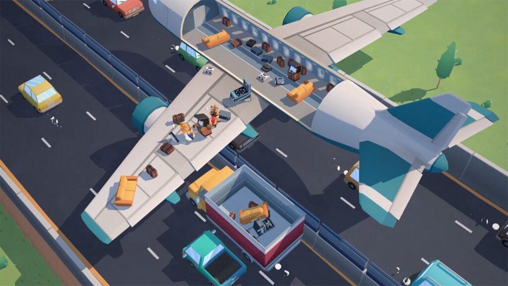 Avião em movimento em uma pista, enquanto os personagens tentam transferir itens para um caminhão posicionado embaixo da asa.