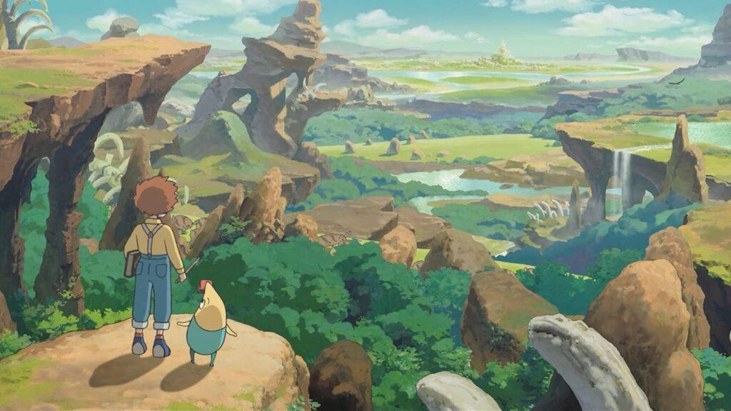 Personagens olham a paisagem natural de ni no kuni do alto de uma colina.