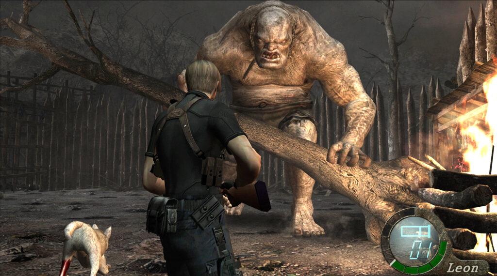 Leon, personagem principal de resident evil 4, encara um dos chefes do jogo.