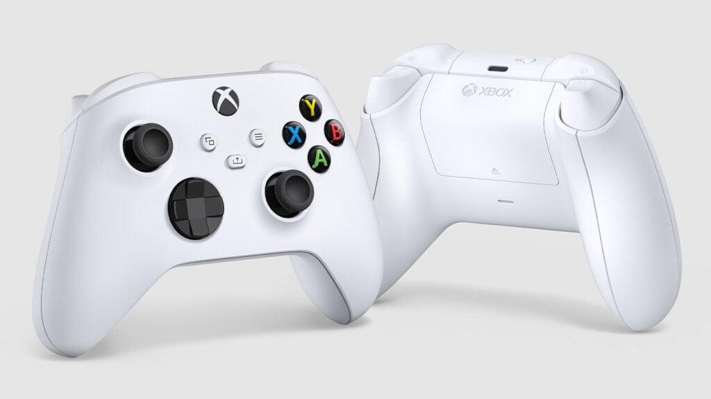 Controle branco do xbox series x|s de frente e de costas.