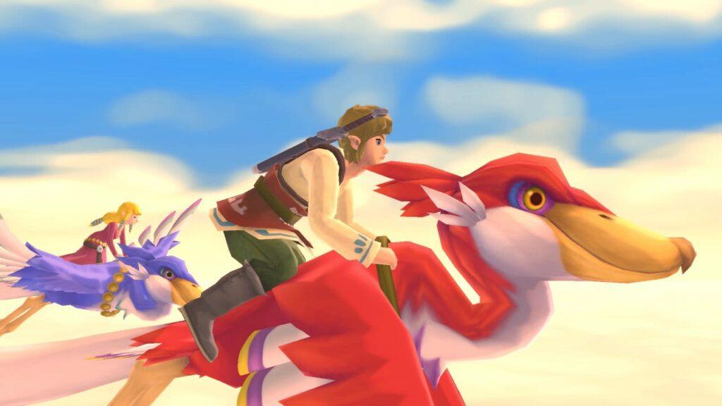 Cena de the legend of zelda: skyward sword hd; link apoia-se sobre seu loftwing.