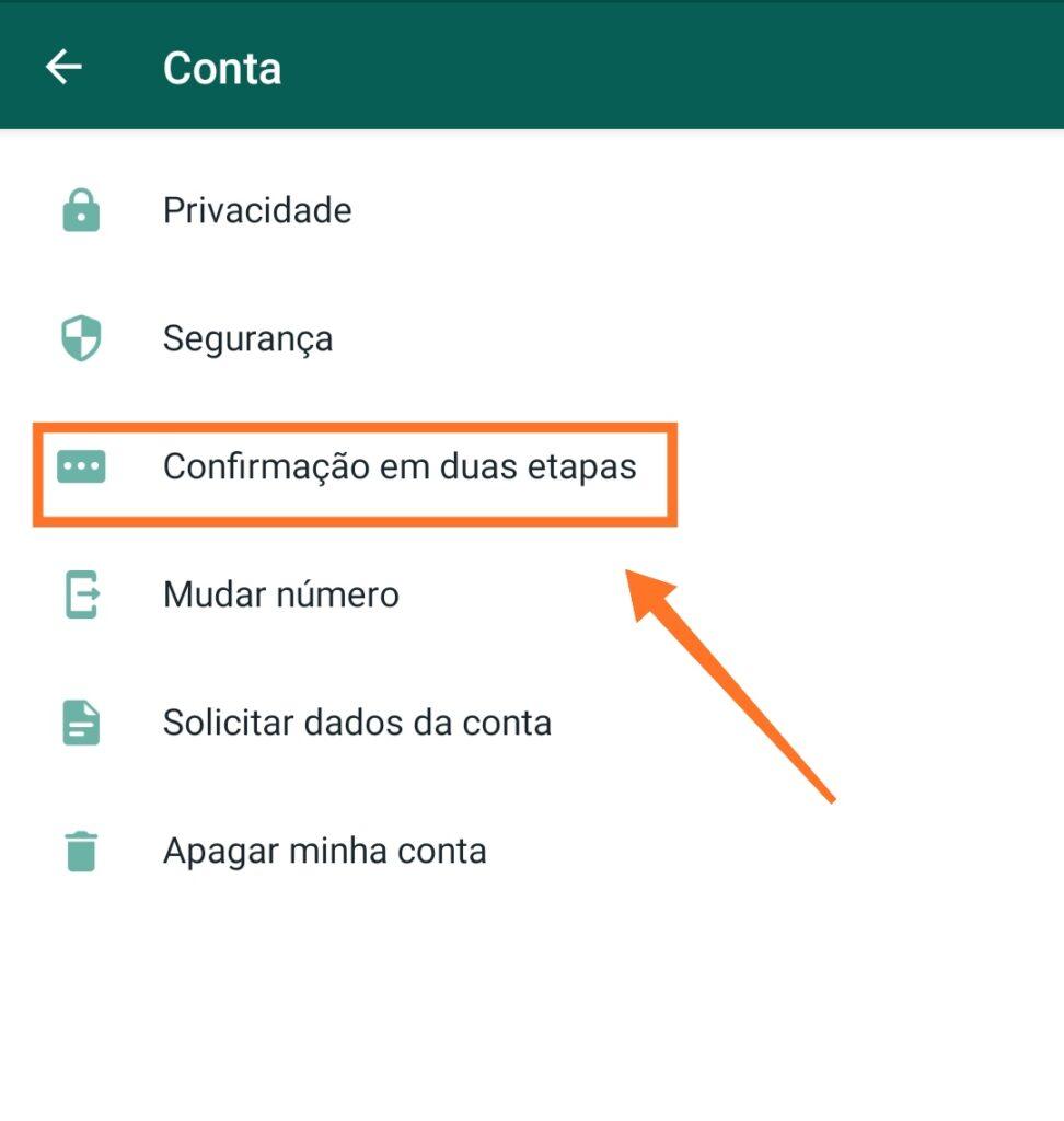 Configurando a confirmação em duas etapas do whatsapp