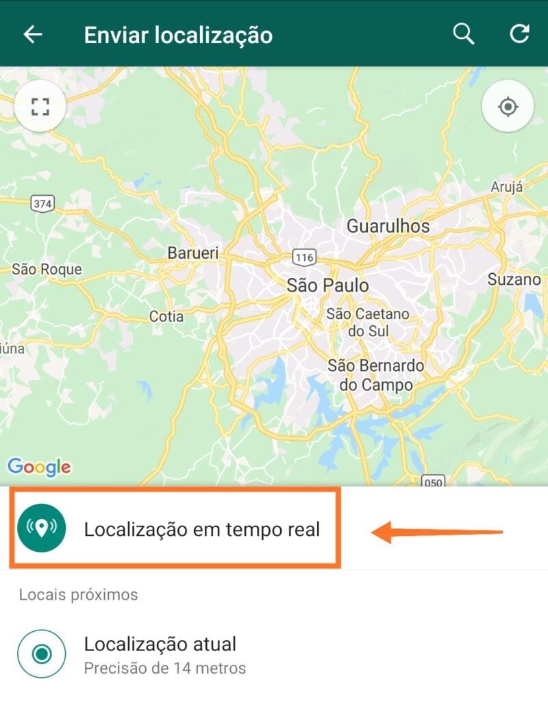 Como compartilhar a localização em tempo real no whatsapp