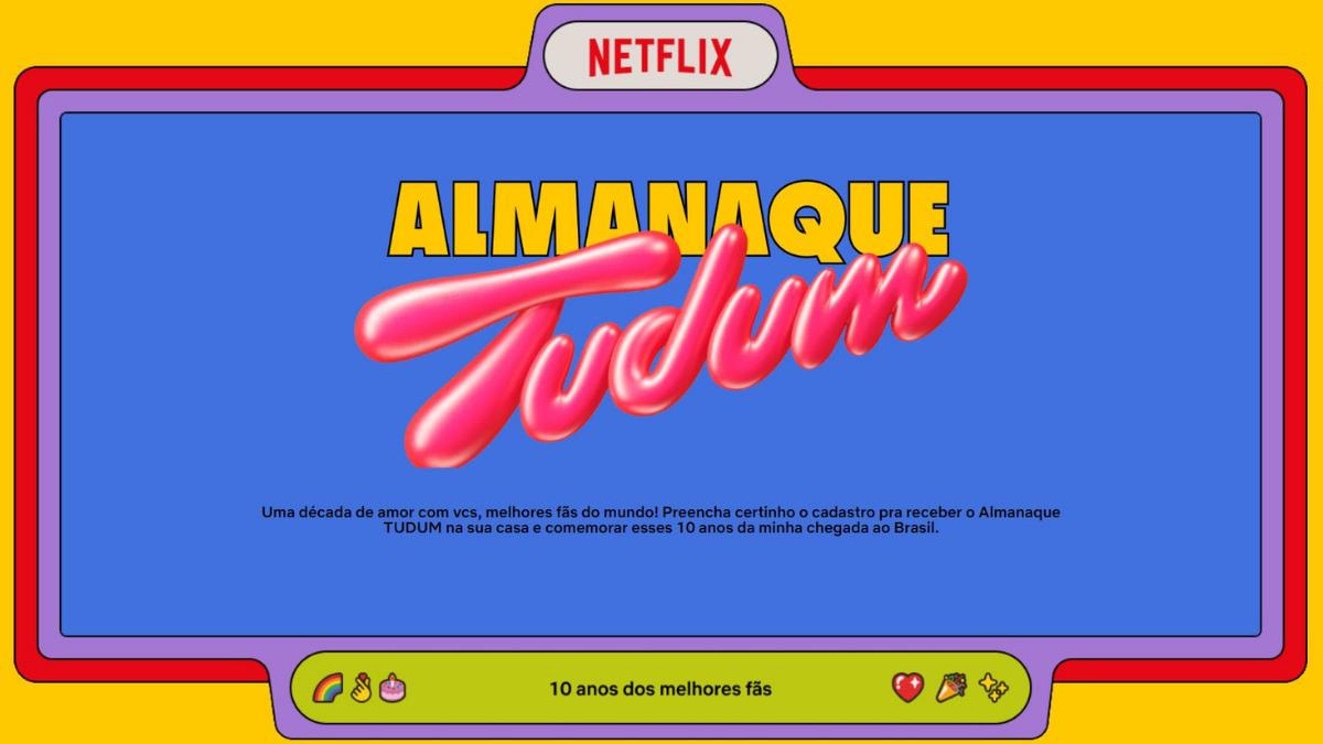 Almanaque tudum comemora 10 anos da netflix no brasil, veja como ganhar