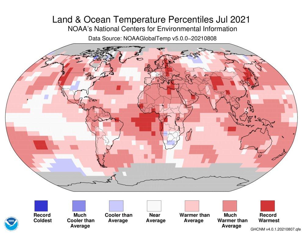 Julho de 2021 contou com um aumento de temperatura da superfície terrestre de 0,93 graus celsius.