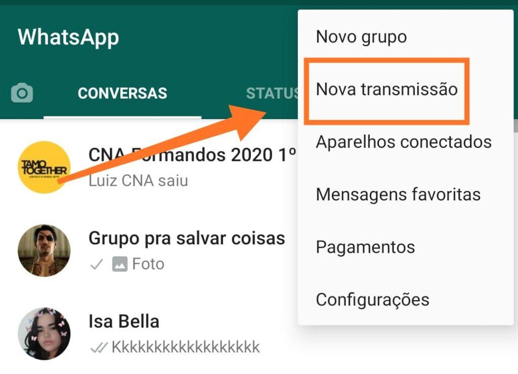 Mandando mensagens para várias pessoas no whatsapp