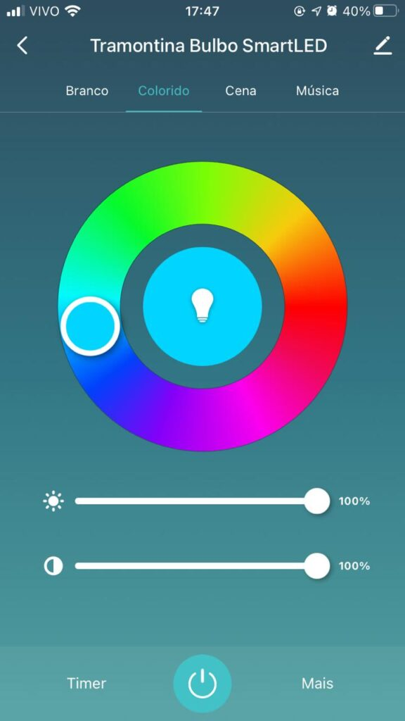 Aplicativo smartled da tramontina espectro de cores