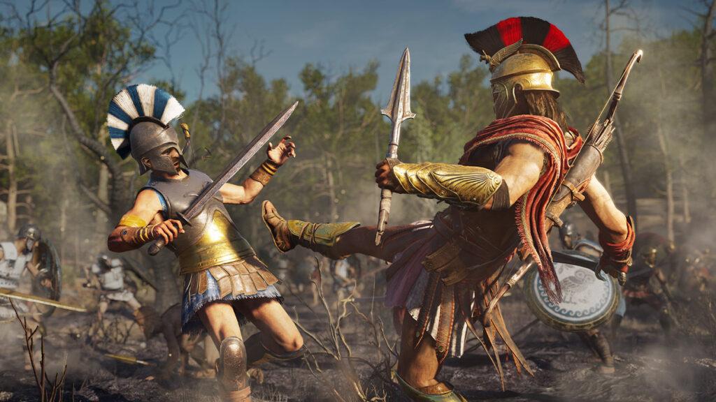 À direita, alexios chuta um soldado inimigo, que está à esquerda.