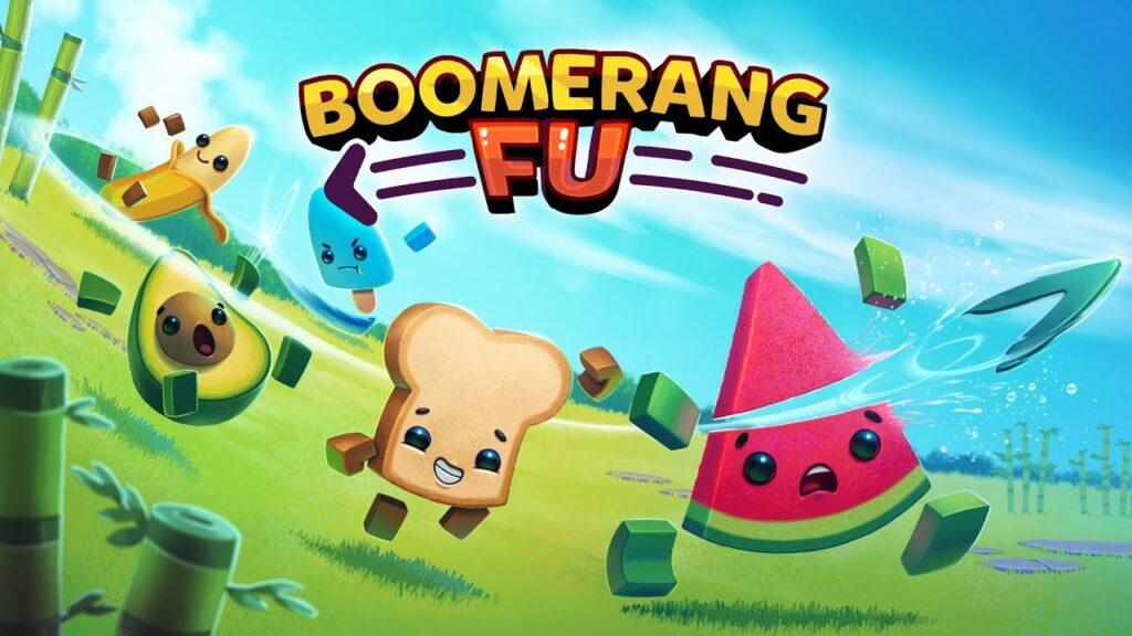 Arte de boomerang fu; um pão corta uma melancia; logotipo acima.