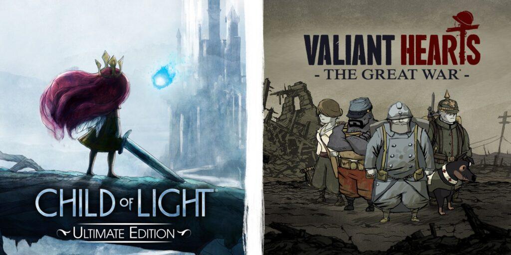 Arte de child of light à esquerda e de valiant hearts à direita.