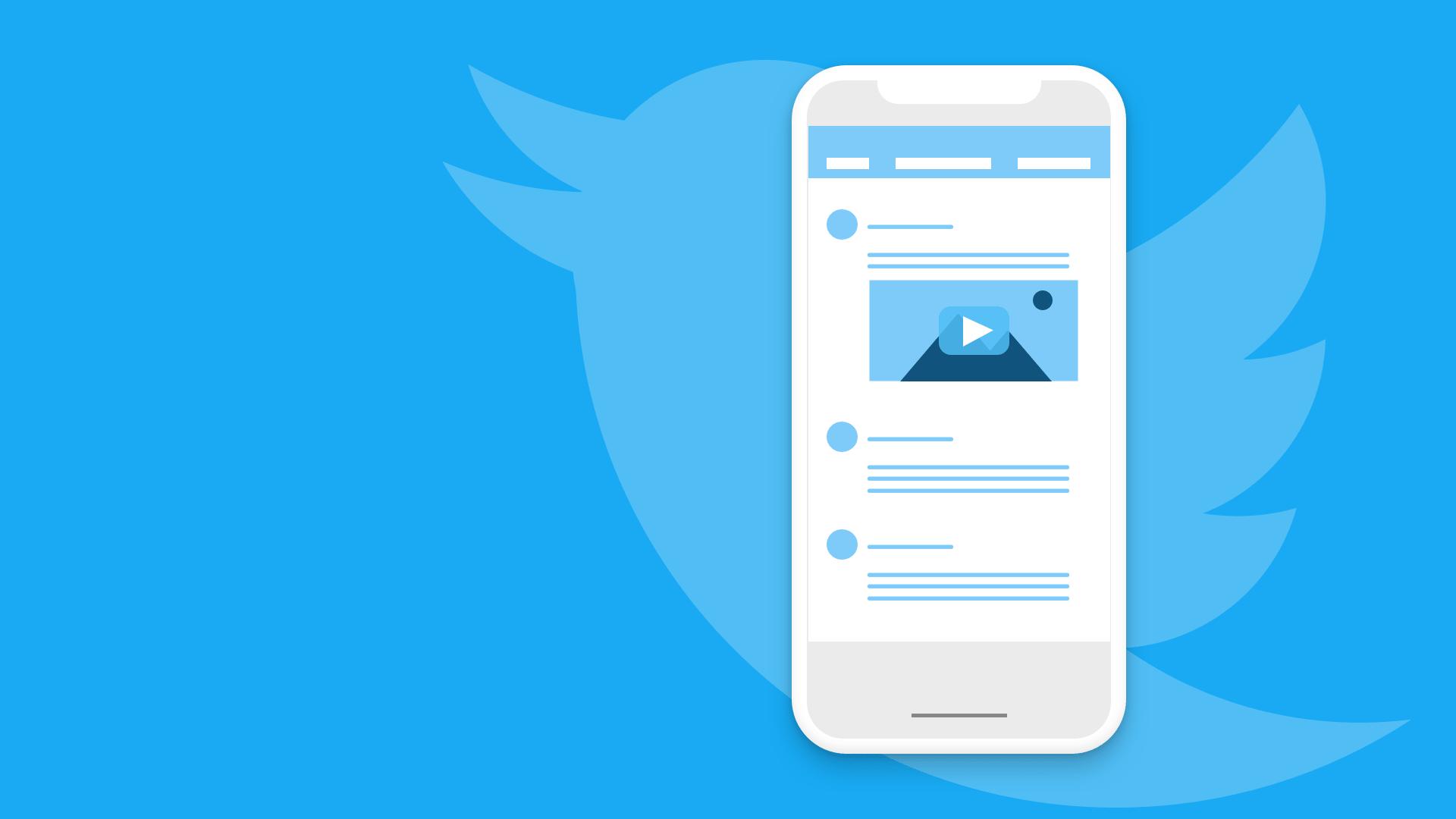 Logo do twitter e um celular com um vídeo