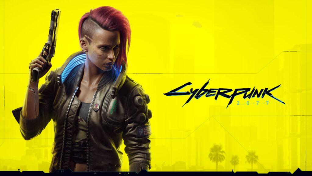 Fundo amarelo; mulher com ciberimplantes e o logo de cyberpunk 2077.