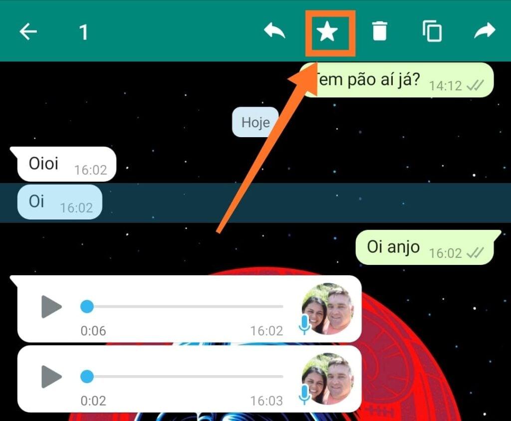 Como favoritar mensagens no whatsapp