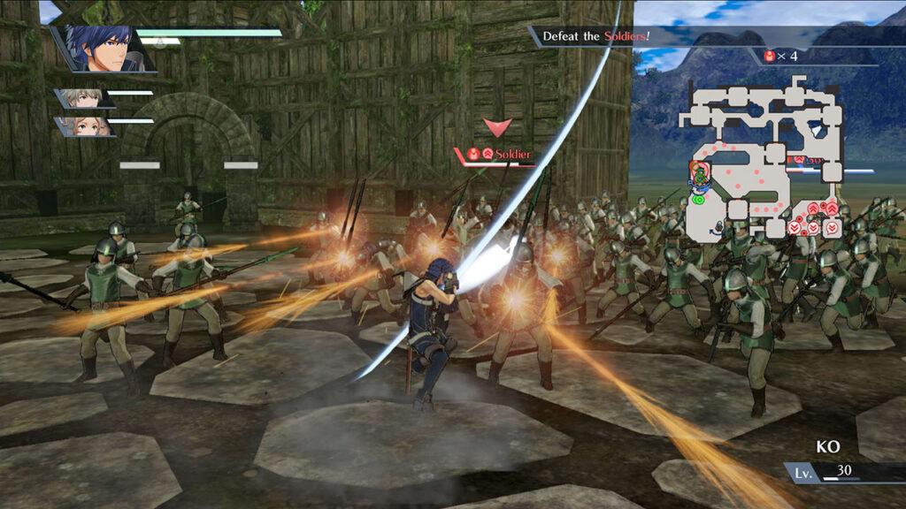 Imagem de fire emblem warriors mostra o personagem controlado pelo jogador enfrentando uma horda de inimigos.