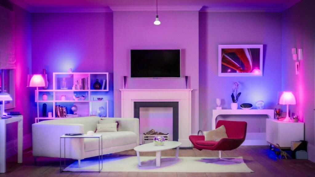 Ambiente decorado com lâmpadas philips hue