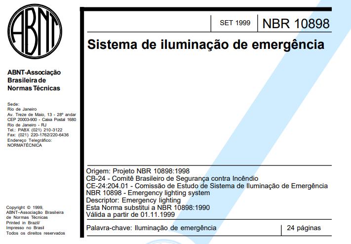 A norma da abnt sobre iluminação de emergência