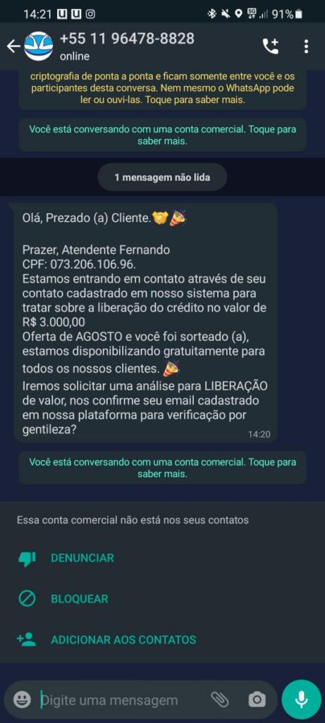 Novo golpe do whatsapp usa contas comerciais para roubar clientes