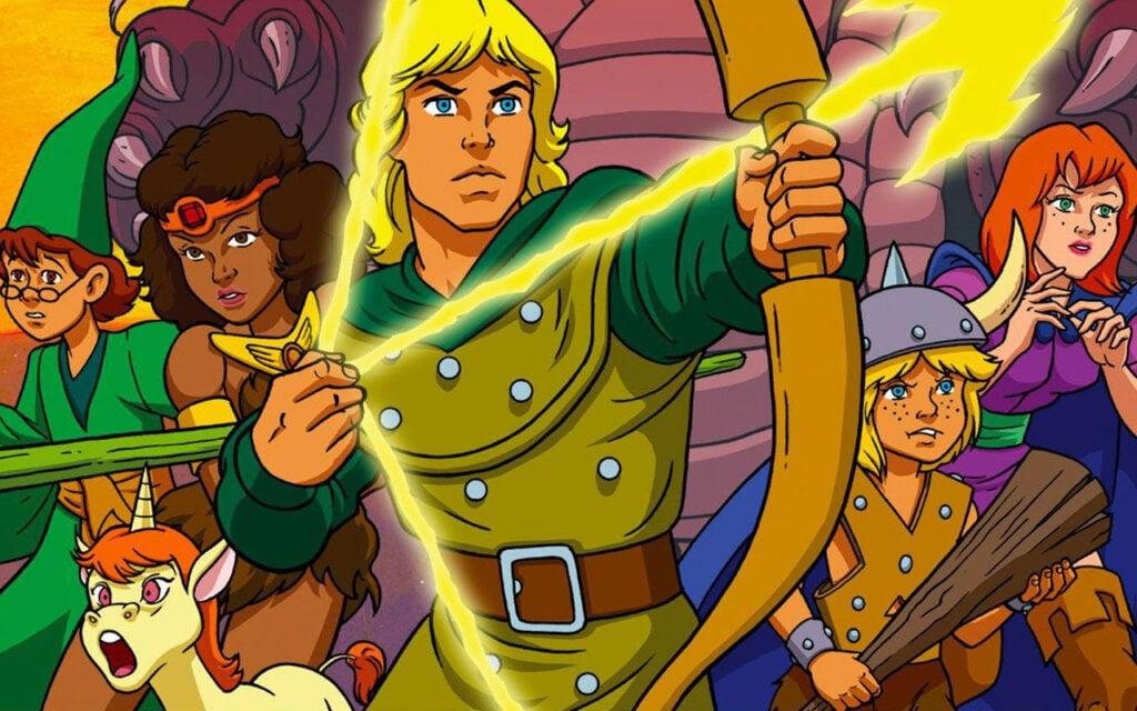 Captura de tela de caverna do dragão com os seis protagonistas