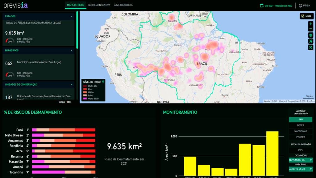 Site da previsia, onde já é possível verificar o mapa de risco e navegar à vontade