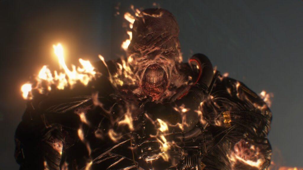 Nemesis, vilão de resident evil 3, em chamas.
