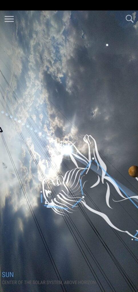 Skyview no modo ar em uma tarde nublada