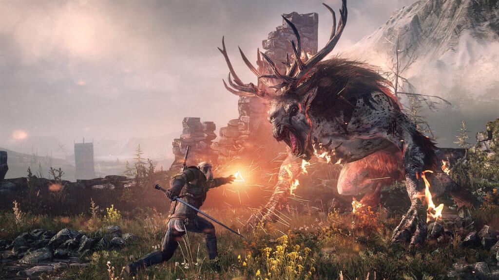 Geralt, protagonista de the witcher 3, lança magia de fogo contra criatura.