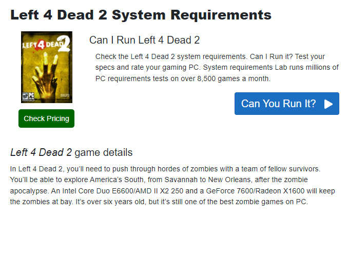 Informações de left 4 dead 2 no can you run it