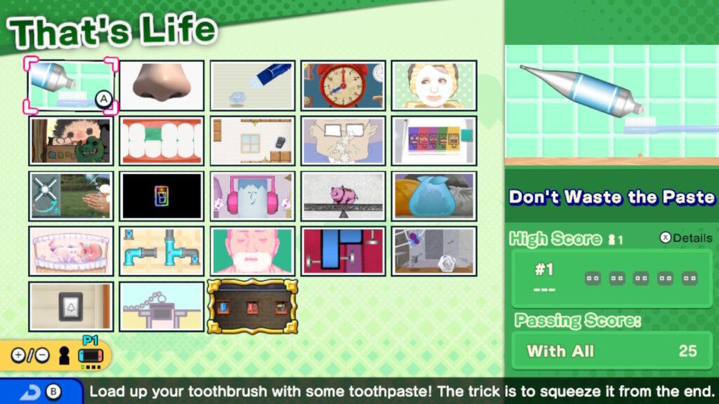 Visão geral dos microgames em e that's life - warioware: get it together!