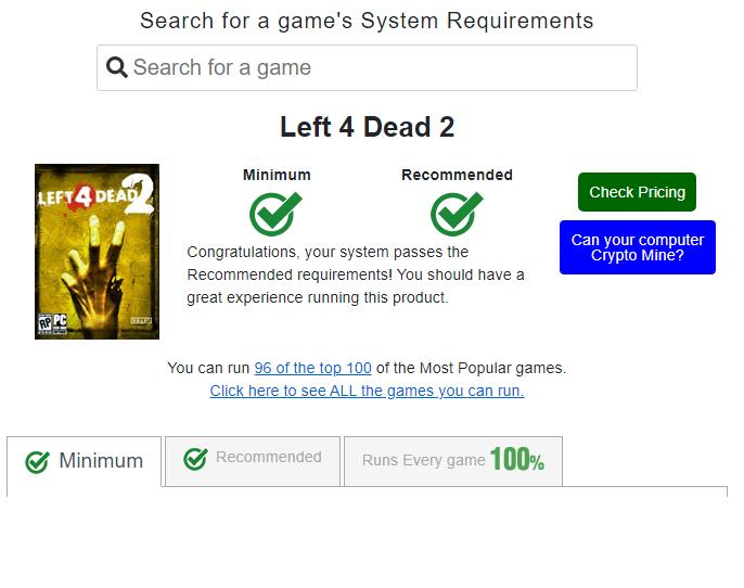Requisitos de left 4 dead 2 no can you run it
