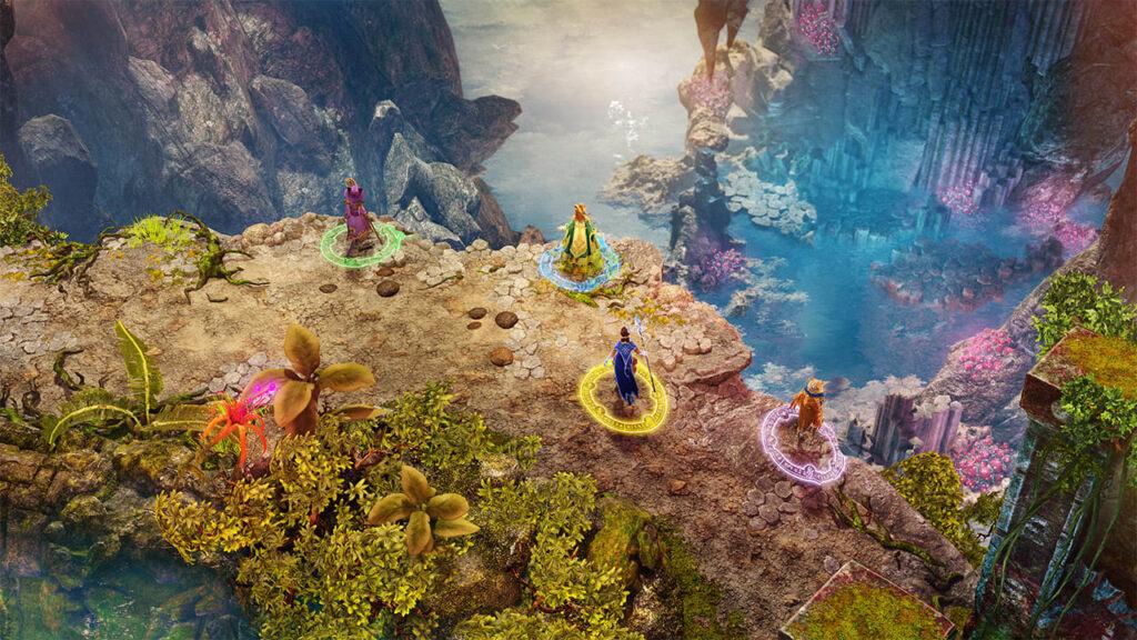 Cenário de nine parchments: quatro personagens em plataforma observam paisagem de mar com rochas ao fundo.